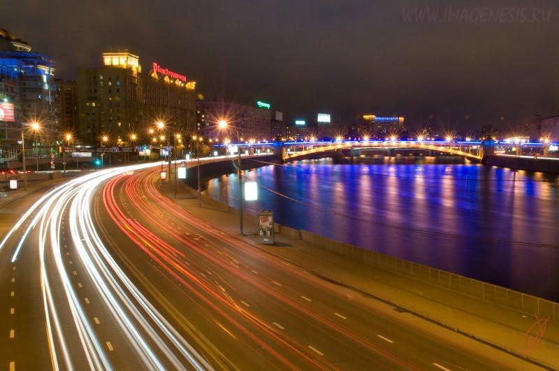 night motion light whirl city движение огней в ночном городе автор Демидов Игорь