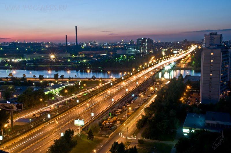 city bridge at night мост ночью фонари следы фар автор Демидов Игорь