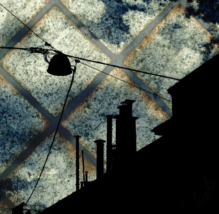 roof pipes at the evening in the city urban life городские крыши и трубы вечером в городе автор Демидов Игорь