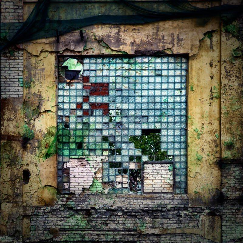 old rusty destroyed window looks like mosaic старое заводское окно выглядит как мозаика автор Демидов Игорь