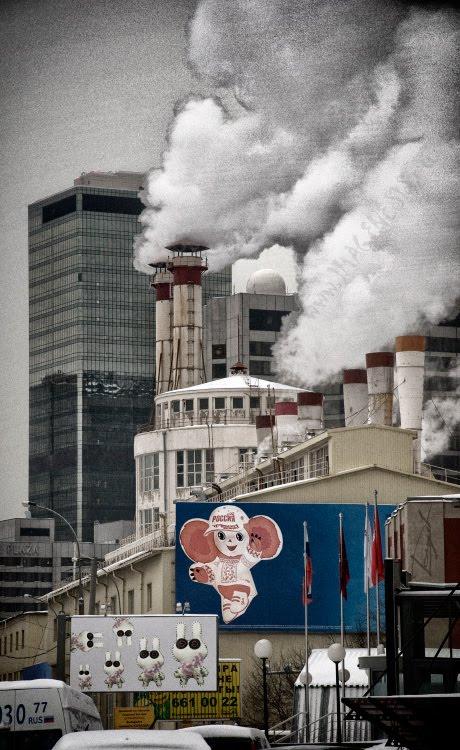 smoke rabbits cheburashka chimneys дым офисы трубы чебурашка и кролики автор Демидов Игорь