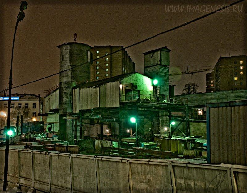 Метрострой ночной индустриальный пейзаж Демидов Игорь