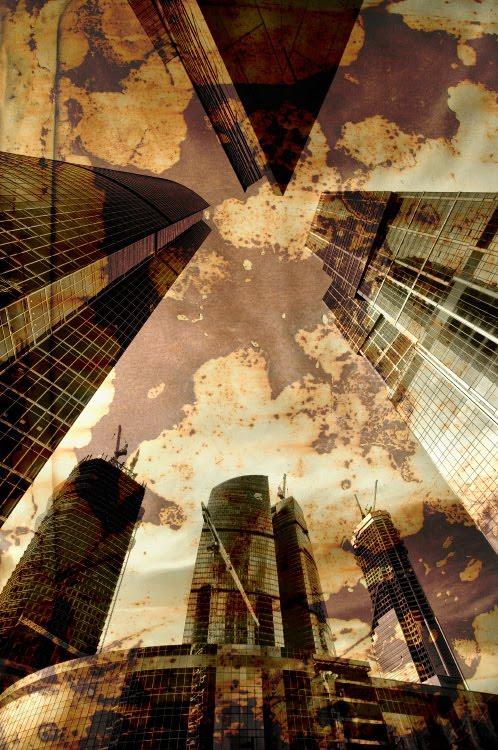 ржавое небо высокие стены города  огромный город  big city rusty sky high walls