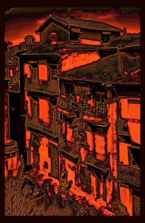 crimson light little man cracked building разрушающееся здание в багровом цвете и идущий мимо человек автор Демидов Игорь