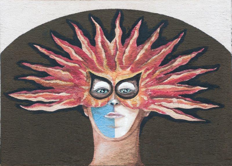 Швейцария Люцерна дом граффити уличное искусство сказочные персонажи автор фото Демидов Игорь лицо в солнечной маске Switzerland Luzern street art mural painting author Ottiger 85 solar mask man