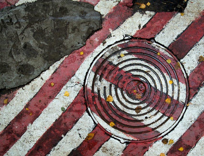 Мокрый осенний бетон крсные полосы желтые листья гимн осени автор Демидов Игорь red stripes golden liaves autumn conrete