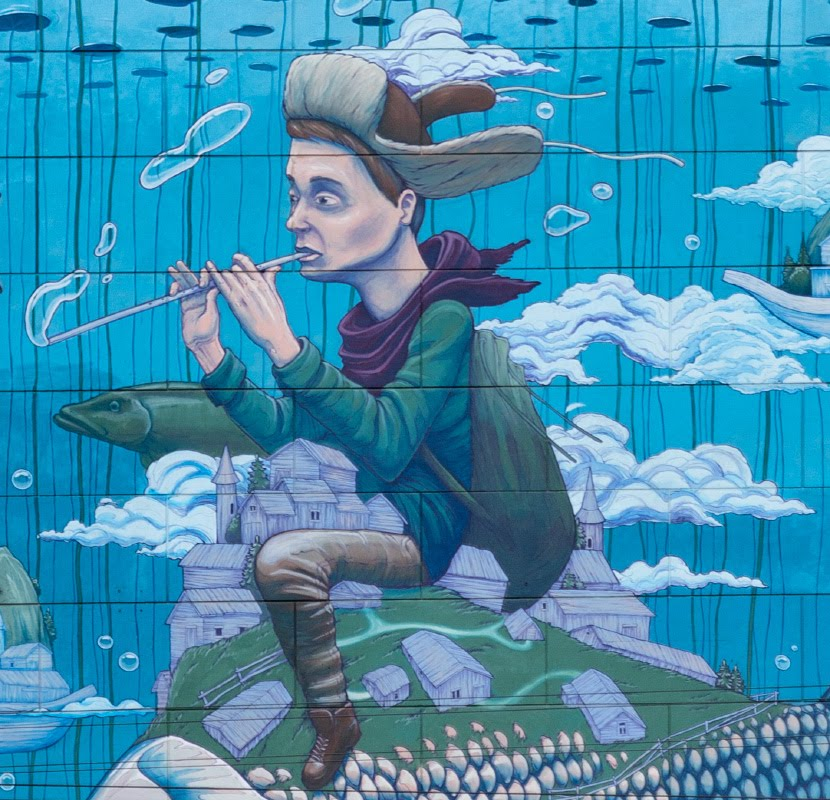 Чудо-Юдо рыба и Иван дурак граффити личное искусство автор фото Демидов Игорь Street art and mural painting miracle fish Ivan the fool