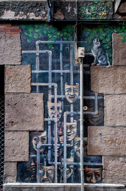 masks and pipes graffiti mural painting street art Bilbao маски и трубы уличное искусство Бильбао граффити автор фото Демидов Игорь