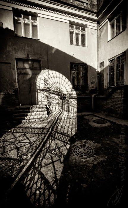 кружево кованой решётки и кружево крышки водосточного люка lace shadow fence old автор Демидов Игорь