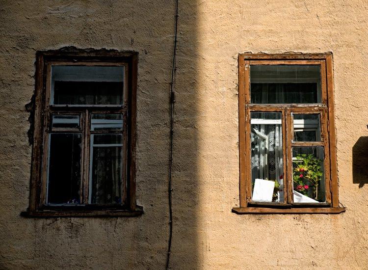 Тёмная и светлая сторона жизни тень окна цветок dark and bright sides of life windows flower wall автор Демидов Игорь