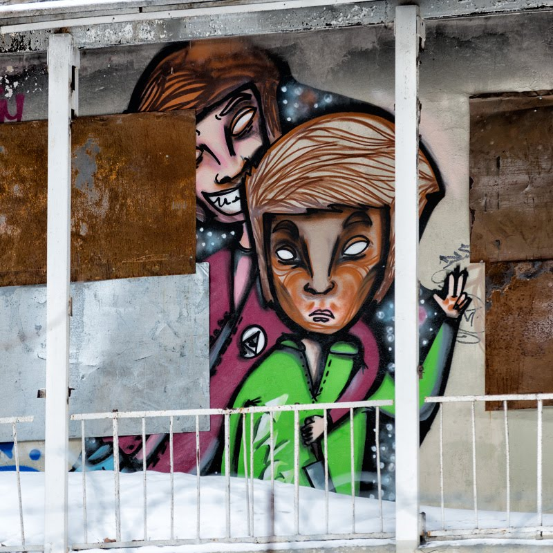 street art mural painting killer and victim уличное искусство граффити убийца и жертва автор фотографии Демидов Игорь