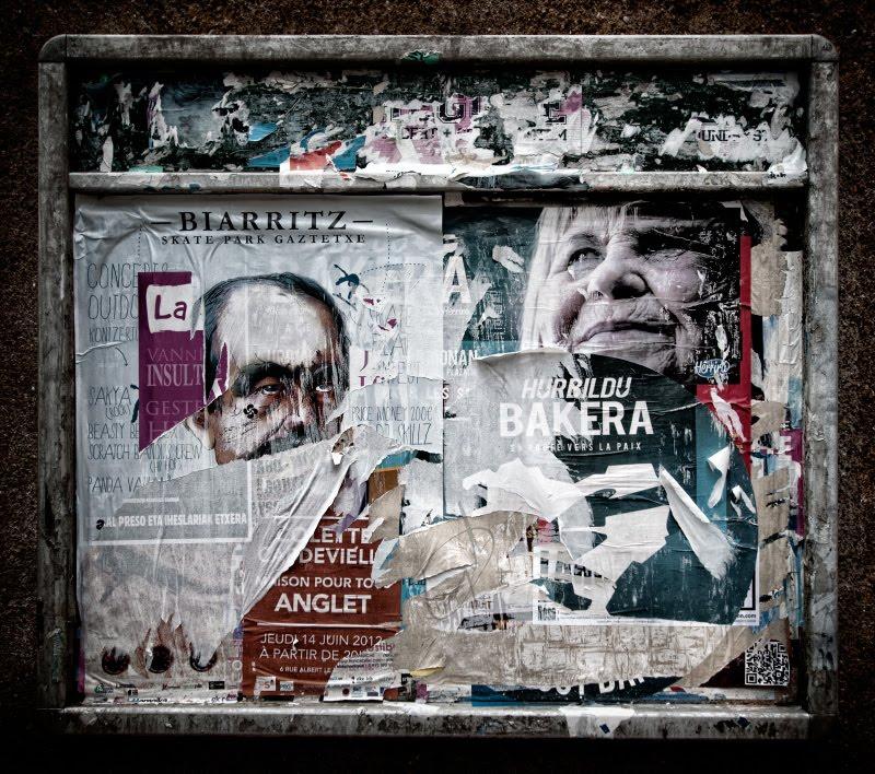 Old Basque posters on the news board in Baiona  старая доска объявлений в Байоне автор Демидов Игорь