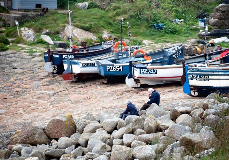 рыбаки Корнуэл камни лодки сети автор Демидов Игорь Cornwall fishermen boats fishnets