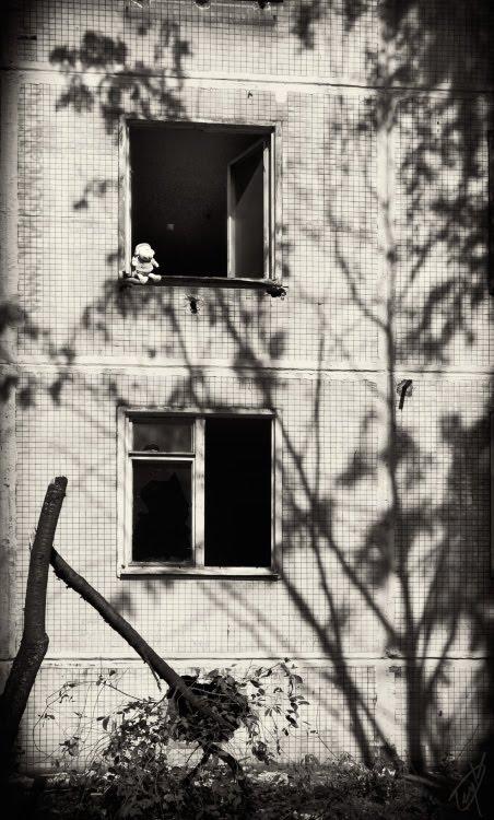doll in empty window shadow of tree игрушка в пустом окне и тень дерева атор Демидов Игорь