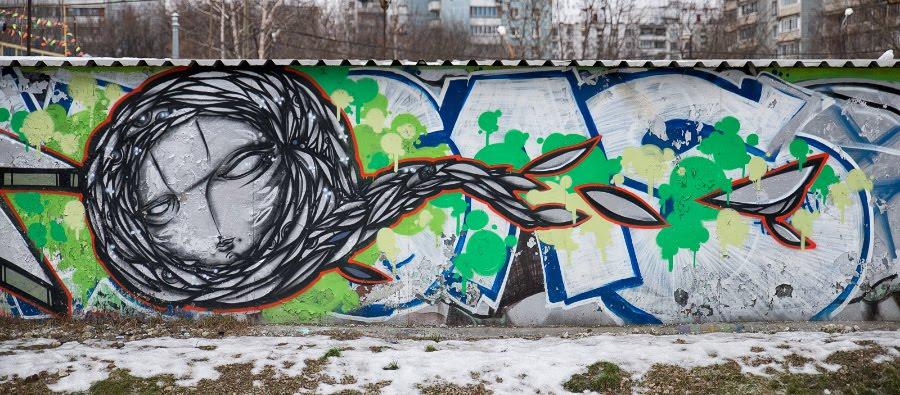 графити уличное искусство лицо катящееся вперйд и рассыпющее листья автор фото Демидов Игорь Street art mural paintin rolling head