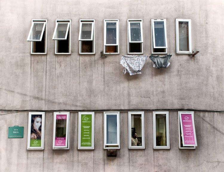 two rows of windows in summer evening ряды окон летним вечером автор Демидов Игорь