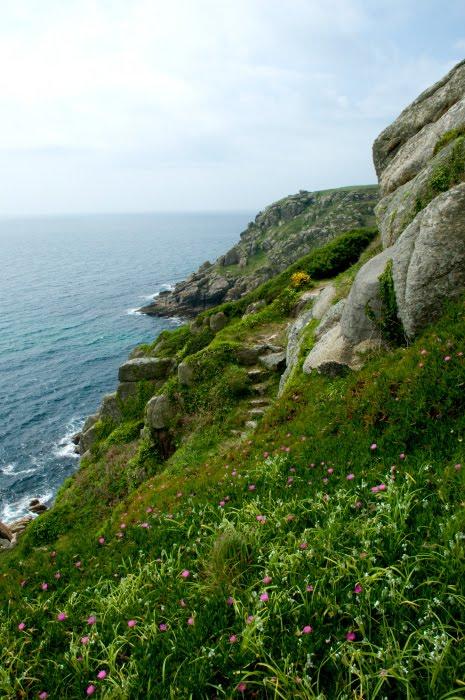 скалы цветы трава море волны ветер Корнуэл Англия автор Демидов Игорь Cornwall small path in the rocks green grass blooming flowers sea waves