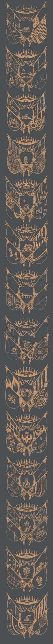 Боковая панель с гербами контрад Сиены Siena contradas arms side panel
