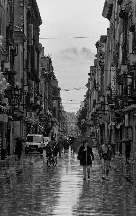 Bordeaux rainy day street umbrellas bicycles pedestrians clouds дождливый день на улице Бордо пешеходы велосипедисты зонтики облака автор Демидов Игорь