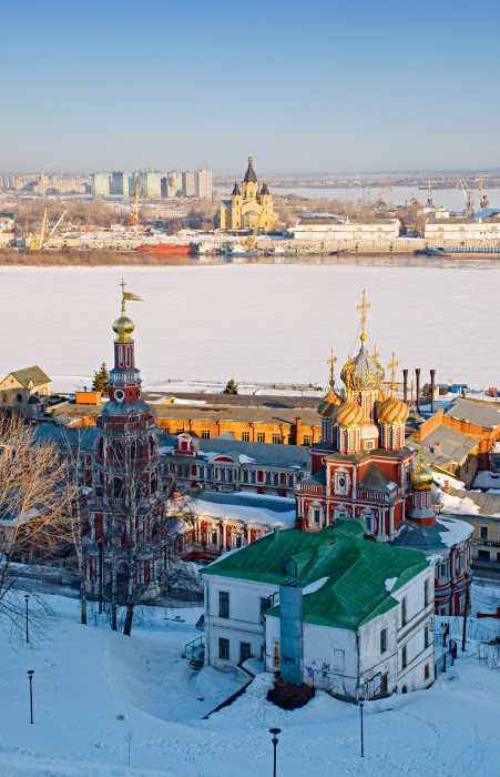 Зима река берега церкви нижний Новгород автор Демидов Игорь Nizhny Novgorod churches morning river banks winter