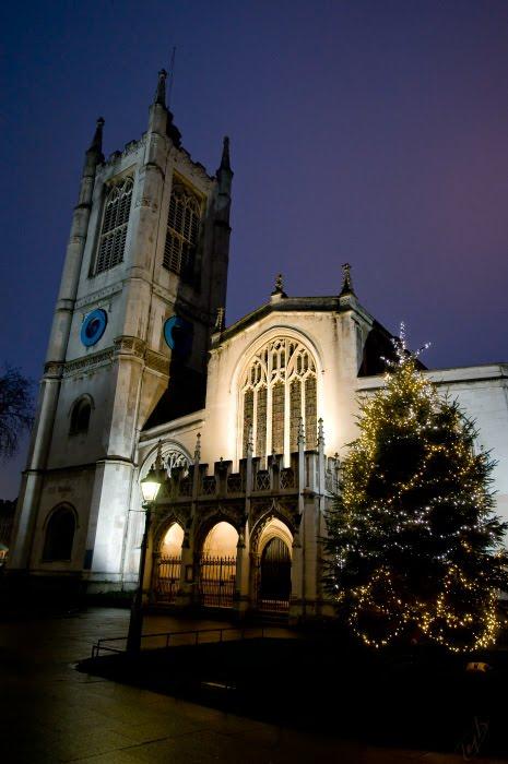 Вестминстерское аббатство рождество ночь ёлка гирлянда автор Демидов Игорь Westminster Abbey Christmas tree night lights