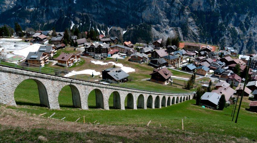 железнодорожный виадук фуникулер в Мюрене автор Демидов Игорь railway viaduct in Murren