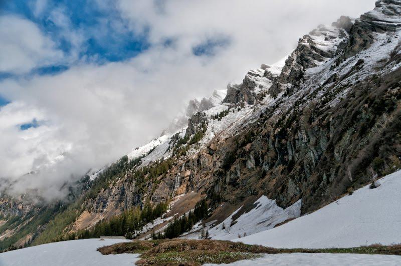 Горы подснежники снег Альпы Швейцария небо горы автор фото Демидов Игорь Alp mountains Swiss snowdrops snow