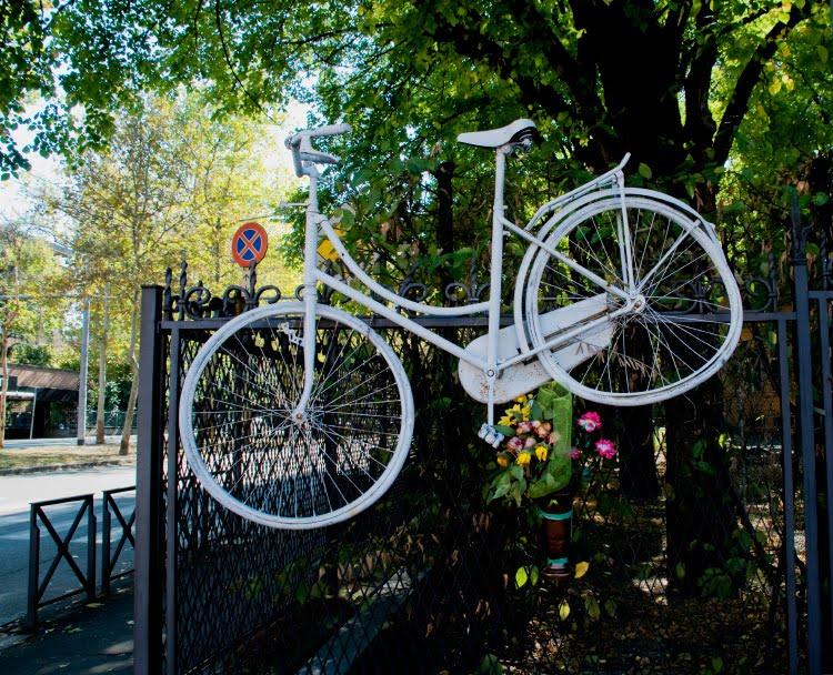 white bike from roadkill red flowers Bologna белый велосипед сбитого на дороге велосипедиста красные цветы автор фото Демидо Игорь
