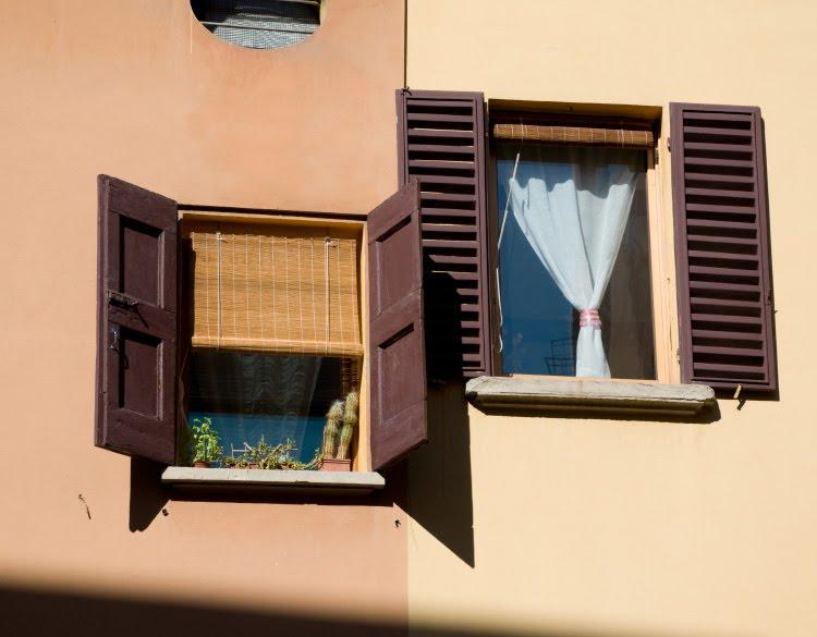 bologna two windows neighbours shutters Italy life окна соседей в Болонье южный город ставни цветы занавески автор Демидов Игорь