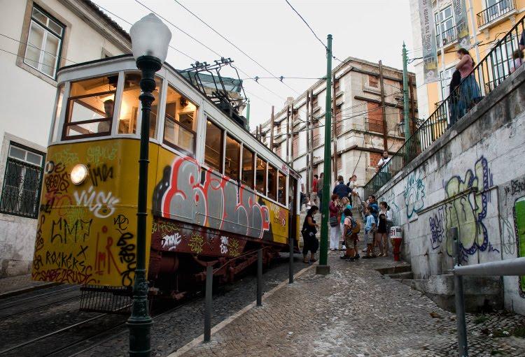 Городской фуникулёр лиссабон жёлтый трамвай люди вечер автор Демидов Игорь Lisbon funicular evening yellow tram