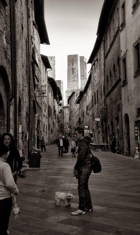 Улочка Сан Джиминьяно башни вдали собачка автор Демидов Игорь San Gemignano street towers dog