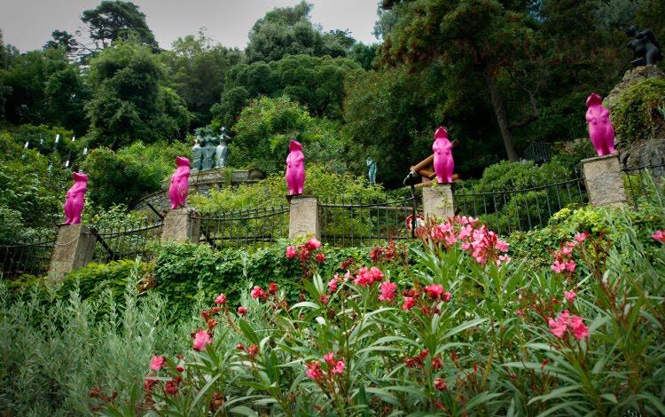 розовые суслики на заборе в Портофино pink suslik in Portofino автор Демидов Игорь
